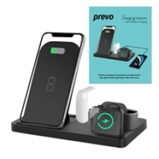 Prevo Universal 4-In-1 Fast Charging QI Wireless Folding Charging Station Black