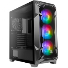 Antec DF600 FLUX Mid Tower 2 x USB 3.0 Tempered Glass Side Window Panel Black Case with Addressable RGB LED Fans