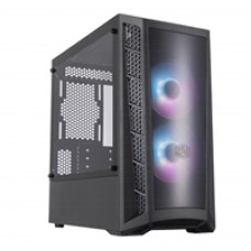 Cooler Master MasterBox MB320L ARGB Micro Tower 2 x USB 3.2 Gen 1 Edge-to-Edge Tempered Glass Side Window Panel Black Case with Addressable RGB LED Fans with Controller & DarkMirror Front Panel