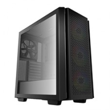 DeepCool CG560 Mid Tower 2 x USB 3.0 Tempered Glass Side Window Panel Black Case with Addressable RGB LED Fans