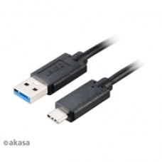 Akasa USB 3.0 A (M) to USB 3.1 C (M) 1m Black Retail Packaged Data Cable