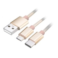 Akasa 2-in-1 USB 2.0 A (M) to USB 2.0 C (M) & USB 2.0 Micro B (M) 1.2m Gold Retail Packaged Data Cable