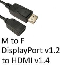 DisplayPort 1.2 (M) to HDMI 1.4 (F) Black OEM Converter Adapter