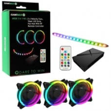 GameMax Addressable RGB 3-in-1 Kit with 3 Velocity Fans, 0.3m Viper LED Strip & PWM Fan Hub with RF Remote Control