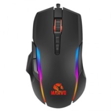 Marvo Scorpion PRO G945 RGB Gaming Mouse, USB 2.0, 9 Programmable Buttons, Heavy-Duty Switches for Main L/R Buttons, Optical PAW 3325DB sensor Upto 10000 DPI, Black