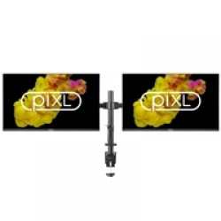 "2 X piXL 24"" IPS Full HD Frameless Monitors with HALF PRICE piXL Double Monitor Arm Bundle"