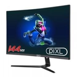 piXL CM27GF6 27 Inch Curved Monitor, 144Hz / 165Hz, 5ms Response Time, HDR, Frameless, Freesync / G-Sync, 1920 x 1080 Full HD, HDMI, Display Port, Black with RGB Lighting, VESA Mount