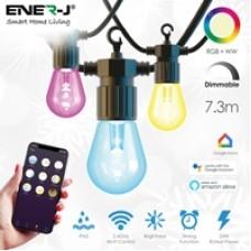ENER-J Wi-Fi LED 7.3M String Light with RGB+WW,  12pcs LED Bulbs, Plug & Play Power Supply